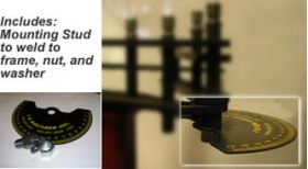 includes: mounting stud to weld to frame, nut and washer